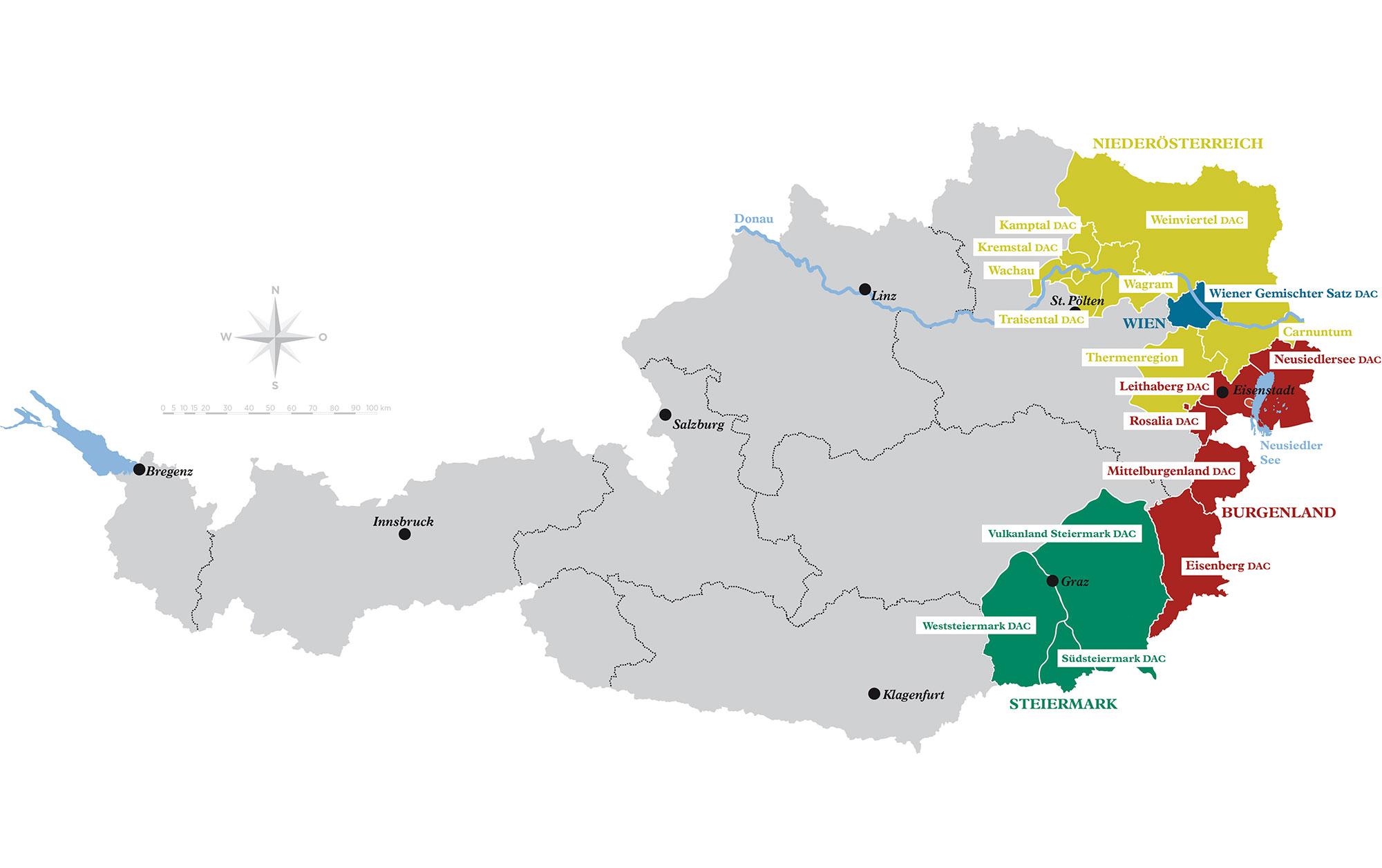 Österreich Wein-Weinbaugebiete