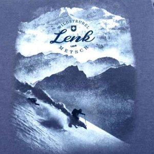 Lenk T-Shirt mit originellem Wintermotiv, Wildstrubel und Skifahrer